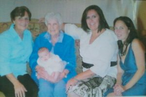 The first-born women of the five generations: My grandmother Bianca (second from left);  her daughter, Patricia (left); Patricia's daughter Lisa (second from right); Lisa's daughter Danielle (right); and Danielle's daughter Juliana being held by her great-great-grandmother.
